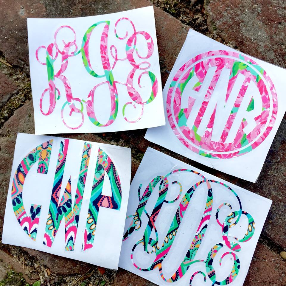 Vinyl Monogram Decal Stickers