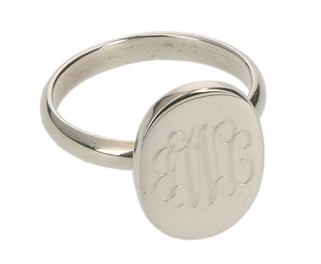 Monogrammed Oval Sterling Silver Ring