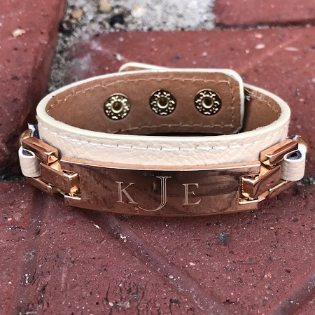 Monogrammed Leather Engraved Bar Bracelet