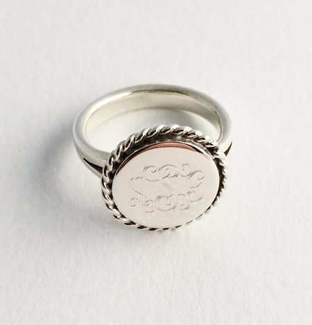 Braided Monogrammed Engraved Ring