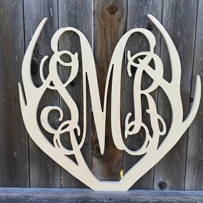 Deer Antler Wooden Monogram Wreath