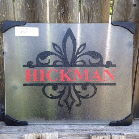 Personalized Fleur de Lis Cutting Board Glass