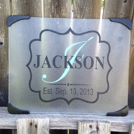Personalized Cutting Board Glass with wedding date