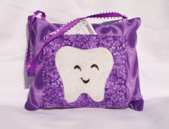 Girls Purple Heart Tooth Fairy Pillow by 3 Silly Monkeys