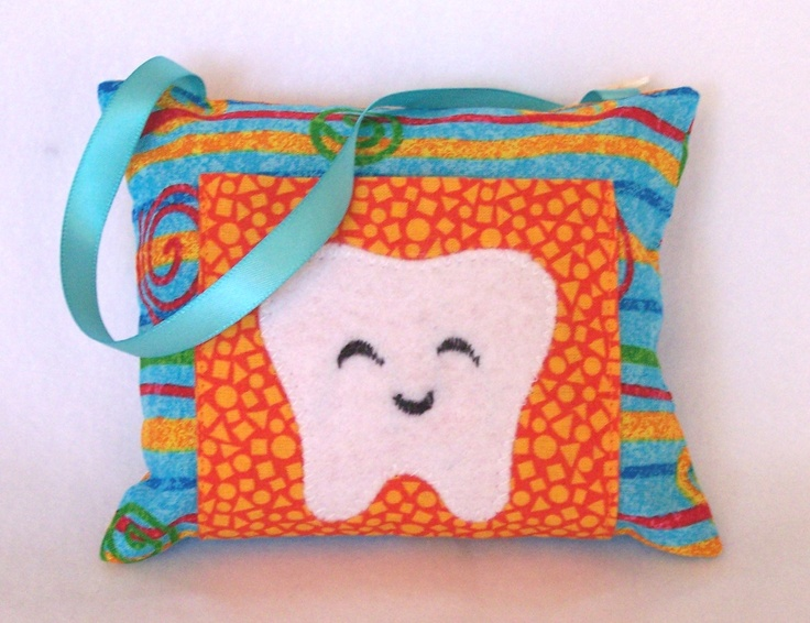 Tooth Fairy Pillow Orange and Teal by 3 Silly Monkeys