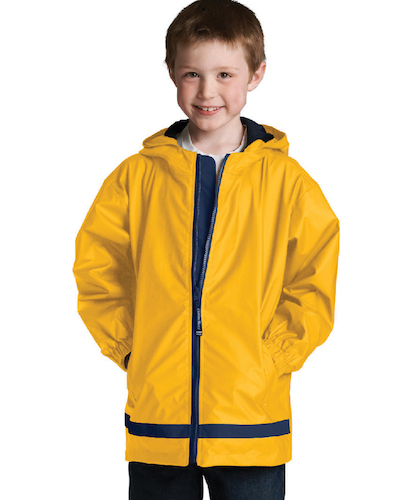 Monogrammed Youth Rain Jacket New englander Charles River Apparel