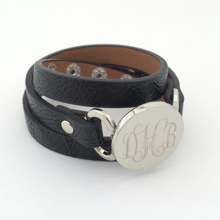 Monogrammed Leather Wrap Bracelet