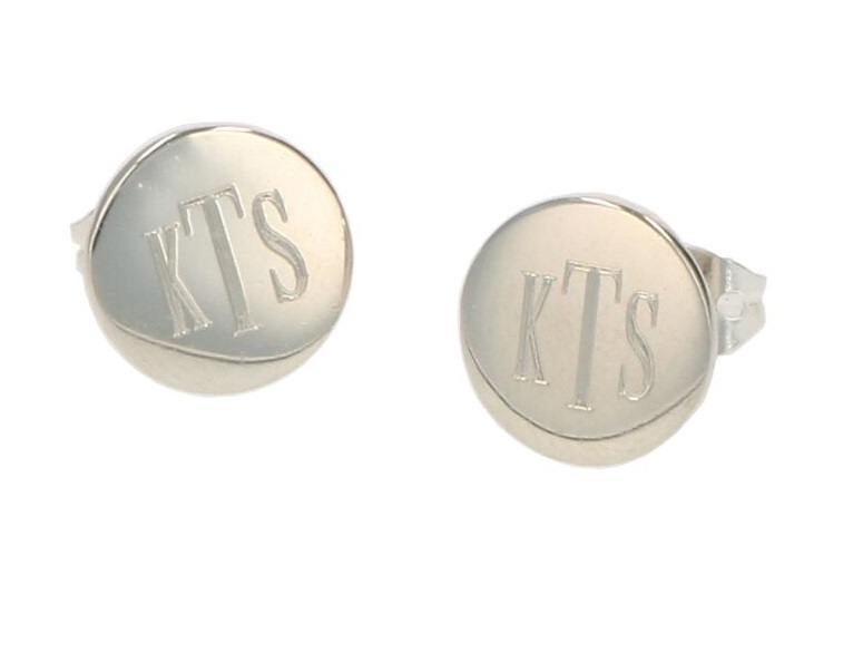 Monogrammed Round Sterling Silver Stud Earrings