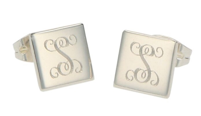 Monogrammed Square Sterling Silver Stud Earrings