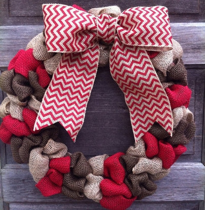 Burlap Wreath with Chevron Ribbon Brown, Tan and Red