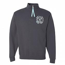 Grey Monogrammed 1/4 Quarter Zip Sweatshirt