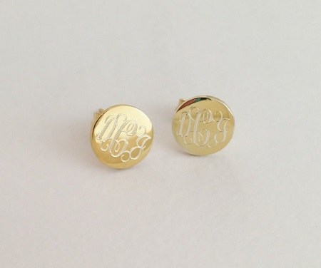 Monogrammed Round Earring Studs Gold or Silver