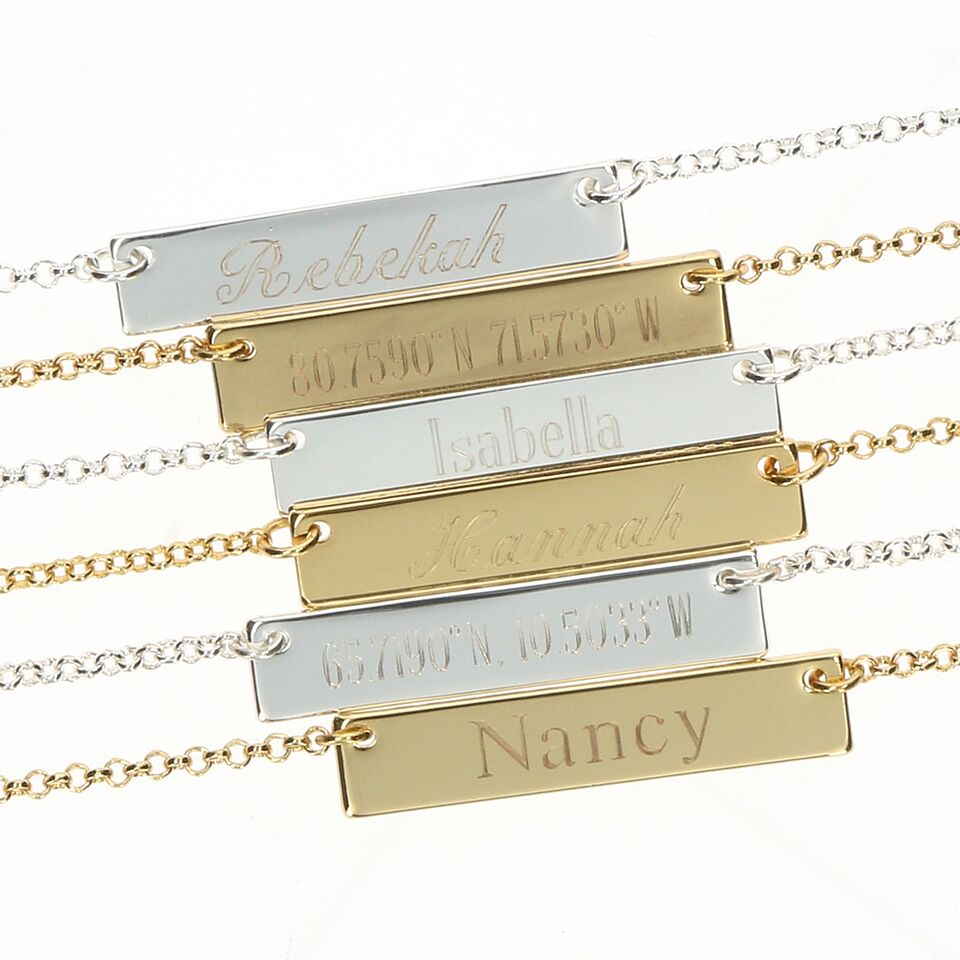 Personalized Engraved Horizontal Bar Name Coordinates Necklace