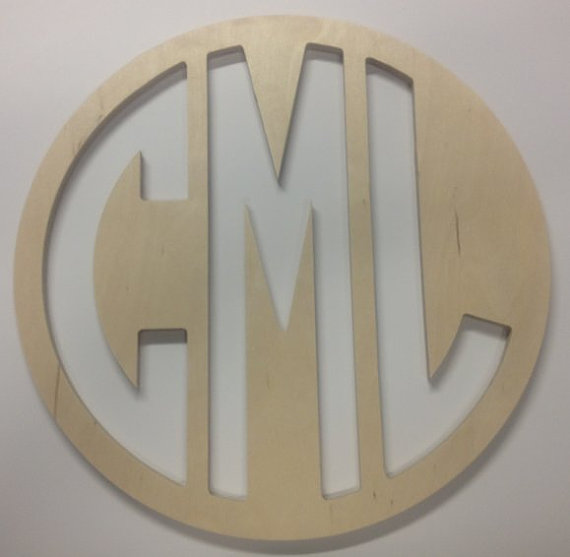 Wood Monogram Block Font Circle Cut Sign