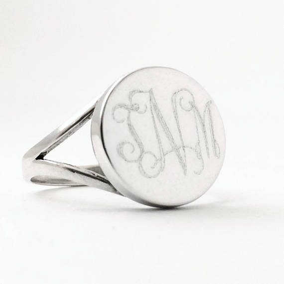 Monogrammed Round Sterling Silver Signet Ring
