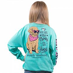 Simply Southern Youth Dog Paw Prints T Shirt