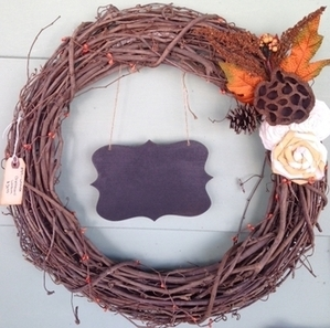 Fall Grapevine Wreath with Chalkboard Sign and Floral