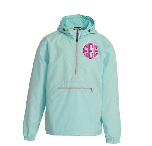 Monogrammed Pullover Rain Jacket Charles River