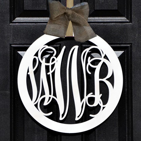 Personalized Wood Monogram Round Circle Wreath