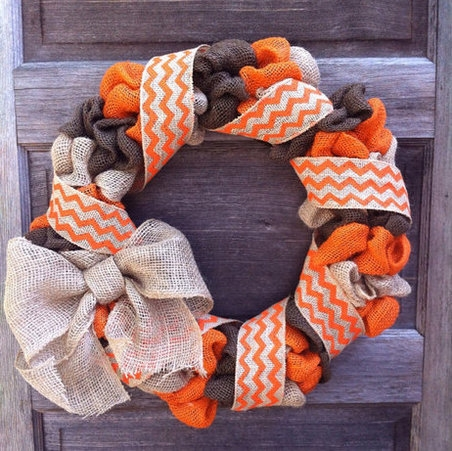 Burlap Wreath with Chevron Ribbon Tan and Orange