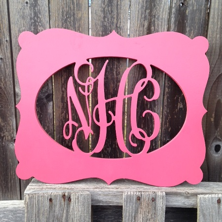 "Scalloped Framed Wooden Monogram 1/2"" Wood"