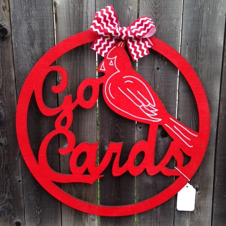 Go St. Louis Cardinals Wood Wreath