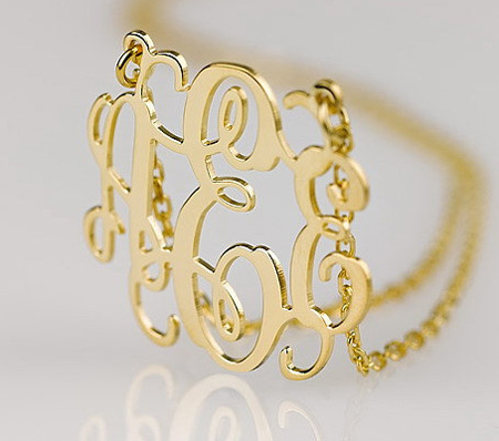 Gold Plated Sterling Silver Vine Monogram Necklace