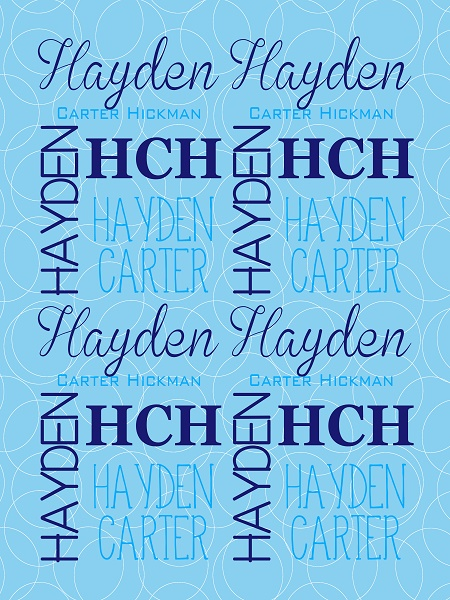 Personalized Monogram Baby Blanket Blue Bubble