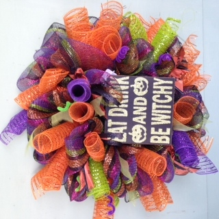 Eat Drink and be Witchy Mesh Wreath