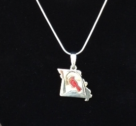 St. Louis Missouri State Arch and Cardinal Bird Necklace