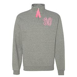Oxford Grey 1/4 zip Monogrammed Sweatshirt