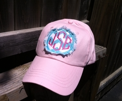 Monogrammed Ladies Baseball Hat with Raggy Fringe Applique
