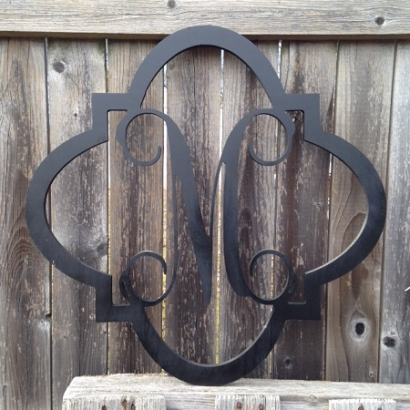 Quarterfoil Wooden Monogram Personalized Wreath