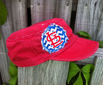 St. Louis Cardinals Hat Cadet Style Raggy Fringe Applique