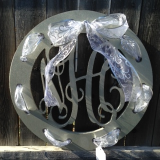 Wooden Monogram with Ribbon Holes
