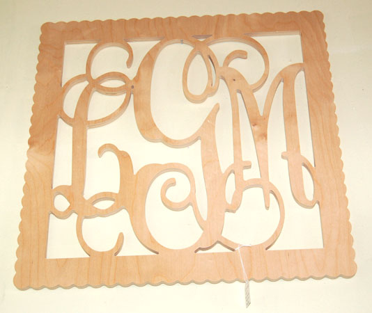 Wood Monogram Square Sign