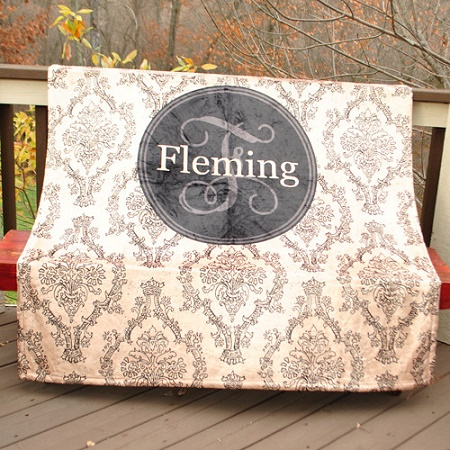 Personalized Large Fleece Monogram Blanket Tan Black Damask