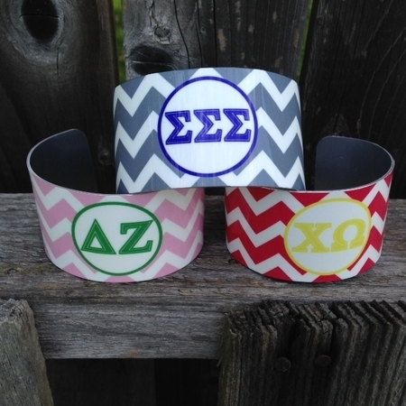 Sorority Monogram Cuff Bracelets
