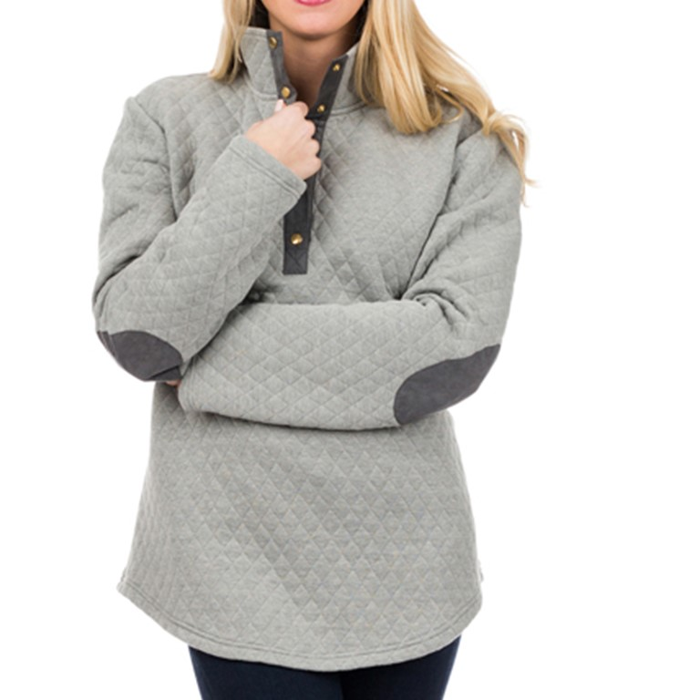 Monogrammed Grey Pullover with Dark Grey Elbow Patches