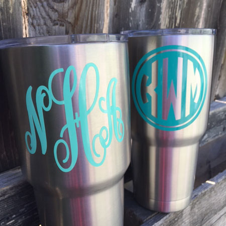 Personalized Stainless Steel Tumbler 30 Ounce Oz. Vinyl Monogram