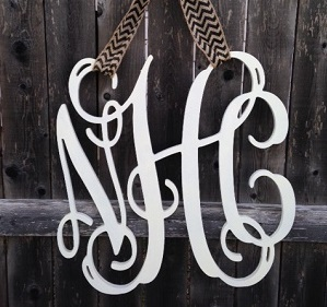 Wood Monogram Initials Vine Font Sign